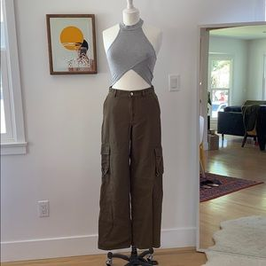 & other stories high waist cargo straight fit pant